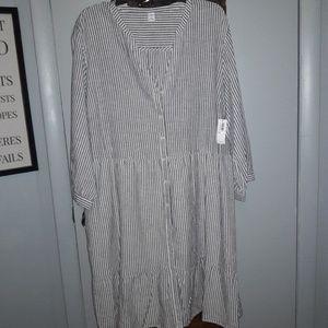 Grey & White Stripped Summer Dress
